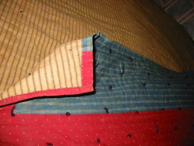 Antique Hand Sewn Tied Quilt Blue Brown Very Old Fabric