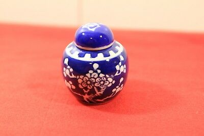 Vintage Blue Decorated Small Jar With Lid China