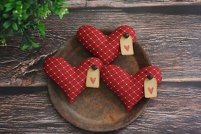 Primitive Heart Bowl Fillers ~ Valentines Day ~ Fabric Farmhouse Ornies Tucks