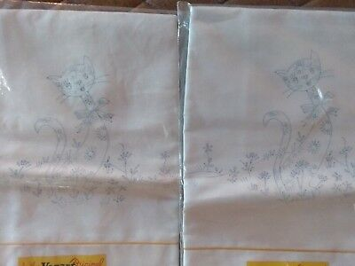 Another Vogart Original Stamped Pillowcases CAT Embroidery New Pair