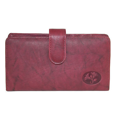 New Buxton Women's Leather Slim Floral Embossed Checkbook Cover Wallet