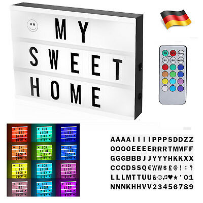 farb led lightbox leuchtkasten box fernbedienung 96 buchstaben usb deko a4 de eur 15 40. Black Bedroom Furniture Sets. Home Design Ideas