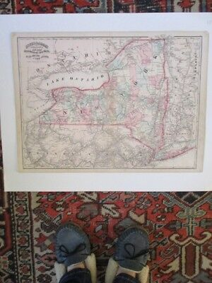 Vintage Topograph MAP of RAILROADS of NEW YORK,NY,C.1870,Asher & Adams,17.5 x 24