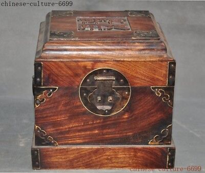 """7""""   Old China dynasty Boxwood wood carving Jewelry Box storage box Boxes statue"""