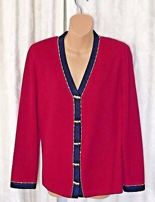 St. John Collection Marie Gray Santana Knit Red Blazer Gold Bamboo Buttons SZ 14