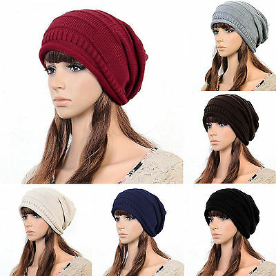 Womens Mens Winter Warm Ski Knitted Crochet Baggy Beanie Hat Slouch Casual Cap