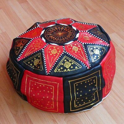 MOROCCAN POUF TAN LEATHER OTTOMAN FOOTSTOOL HIGH QUALITY Foot Seat Pillow