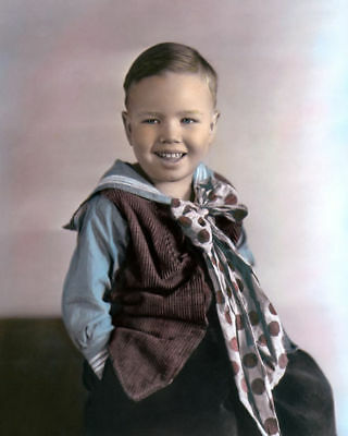 "BOBBY HUTCHINS WHEEZER THE LITTLE RASCALS OUR GANG 8x10"" HAND COLOR TINTED PHOTO"