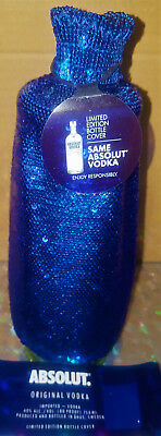 Limited Edition Absolut Electrik Vodka Bottle Cover w/ Blue Sequins flip Silver