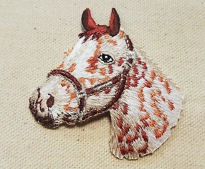 APPALOOSA HORSE HEAD Left IRON ON / SEW ON EMBROIDERED APPLIQUE PATCH 2 5