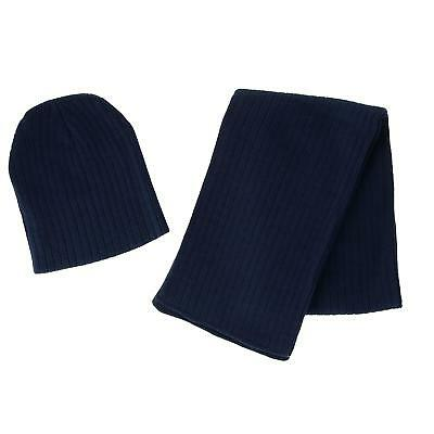 New CTM Boy's 4-7 Solid Ribbed Slouchy Beanie Hat with Scarf Set