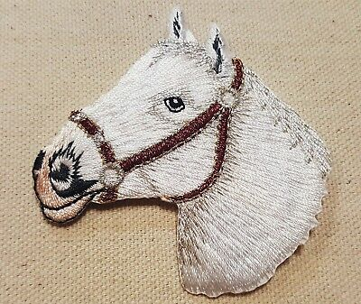 "1pc WHITE HORSE'S HEAD Left IRON ON / SEW ON EMBROIDERED APPLIQUE PATCH 3"" H."