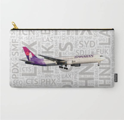 "Hawaiian Airlines 767 with Airport Codes - Carry All Pouch (9.5"" x 6"")"