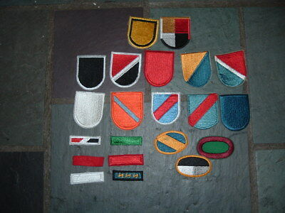 Lot of 21 Vietnam era Special Forces beret flashes & jump wing ovals & strikers