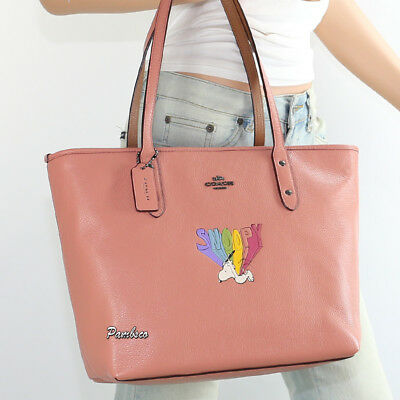 🌺🌺New Coach Peanuts Snoopy Flying Rainbow Leather Shoulder Bag City Tote 18904