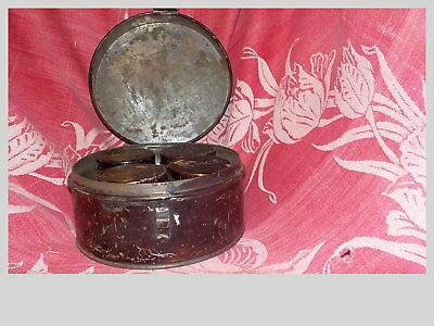 Antique Spice Tin Primitive Metal with 4 Small Tins Very Old
