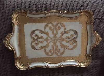 Large Vintage Italian Florentine Wooden Tole Tray Gold Gilt Ornate Italy