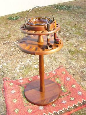VINTAGE Mid-Century Walnut 16 Spot Pipe Stand Table with Ashtray