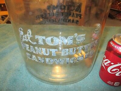 Vintage Tom's Eat Peanut Butter Sandwiches  Jar ( glass lid )
