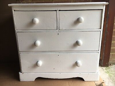 Antique Victorian Pine Chest of Drawers - white
