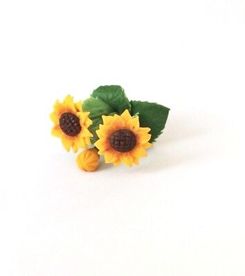 Sunflower Flowers Artificial Clay Miniature Dollhouse Collectibles Scale 1:12