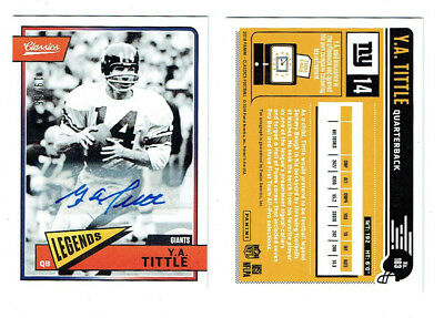 Y.A. Tittle Signed 2018 Panini Classics Football Card Deceased Auto #19/65