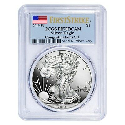 2019-W 1 oz Silver American Eagle Congratulations Set PCGS PF 70 First Strike