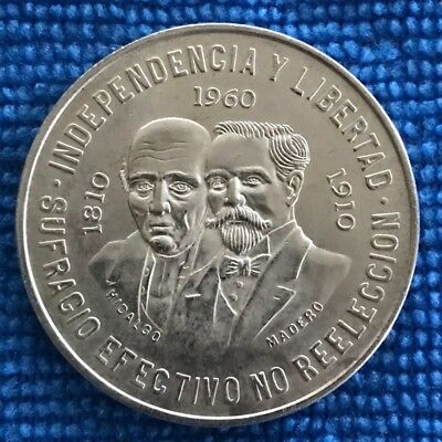 1960 Mexico Silver Diez Pesos Coin. Anniversary Of Independence