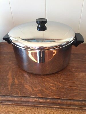 REVERE WARE 6 Qt. Stock pot With Lid  Clinton Ill STAINLESS STEEL ONLY