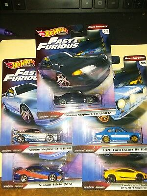 Hot Wheels 2019 Fast and Furious Premium Line fast Imports Set of 5 Cars