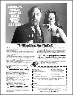 1974 Sebastian Cabot guide on wine and food woman vintage photo Print Ad ads20