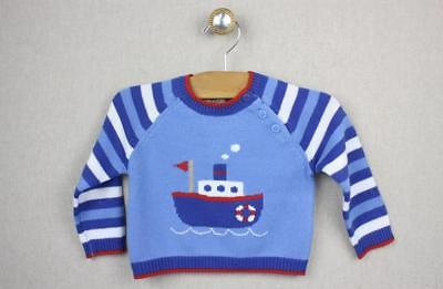 NEW Zubels Hand-crafted Tugboat Sweater 9 months Boys Knit