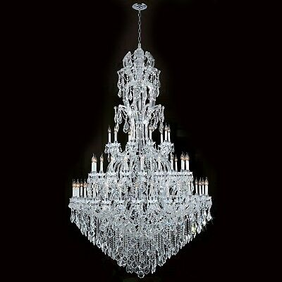 """Maria Theresa Chandelier, D65""""x H108"""", L60, Chrome Finish, Clear Crystal"""
