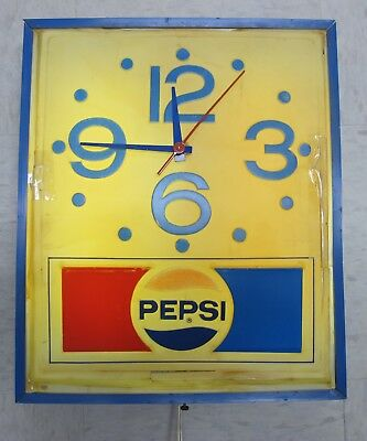 Vintage Grimm Industries Electric Pepsi Clock 1970's