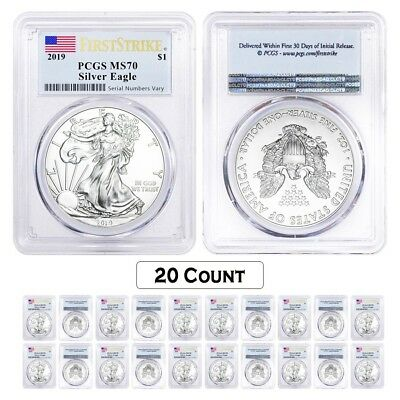 Lot of 20 - 2019 1 oz Silver American Eagle $1 Coin PCGS MS 70 FS (Flag Label)