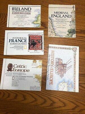 Lot Of  5 Vintage Natl Geographic Maps Europe France Ireland England History