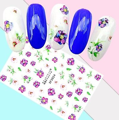 Nail Art Stickers Transfers 3D Self Adhesive Purple Flowers (XF3024)