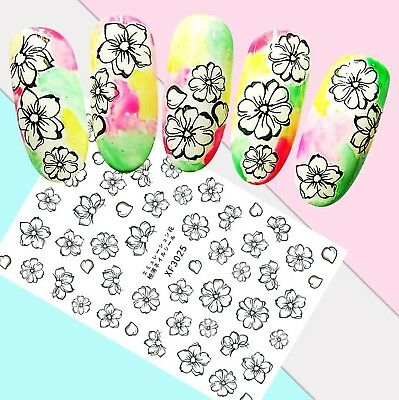 Nail Art Stickers Transfers 3D Self Adhesive Black & White Flowers (XF3025)