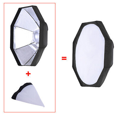 """8 Pole 80cm/31.5"""" Silver/Black Foldable Collapsible  Dish Octagon R2H6"""