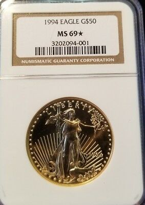 1994 Gold Eagle $50 1 Oz Ngc Ms 69* Key Date Bright Coin Ngc Star Grade !!!!!