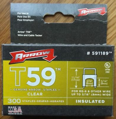 ARROW T59 Insulated Staples 8 mm x 8 mm Clear Box of 300