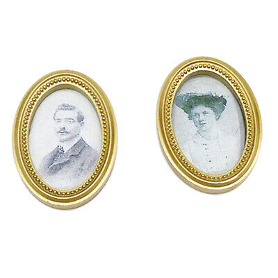 2pcs Miniature Golden Photo Frame Mural for 1/12 Dollhouse Rooms Accessories
