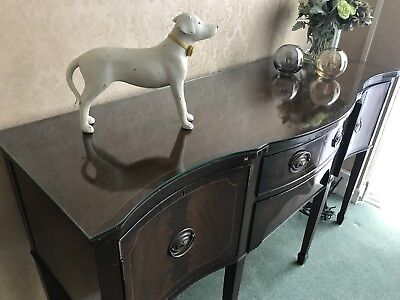 Antique Edwardian Mahogany Sideboard Rare Shape With Glass Top