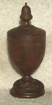 Rare Vintage Antique Turned Wood Saffron Spice Container w/ attached Wood Ring