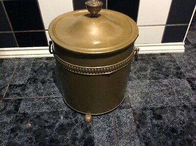 Victorian Style  Ornate Fireside Coal Bucket With Liner & Lid
