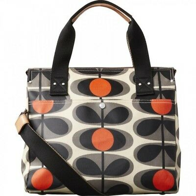 Orla Kiely Flower oval stem zip messenger (Granite)