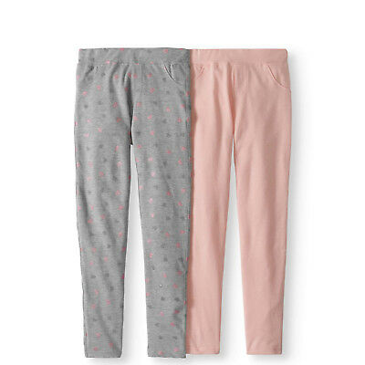 28fae28096e55 FreeStyle Revolution Girls' 2 pk French Terry Solid and Print Pocket  Leggings 6