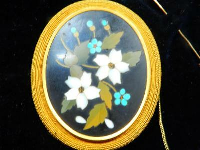Antique LARGE Pietra Dura Brooch Italy 1800's  Mosaic Pin Gold 5.5 cm / 2.2 in