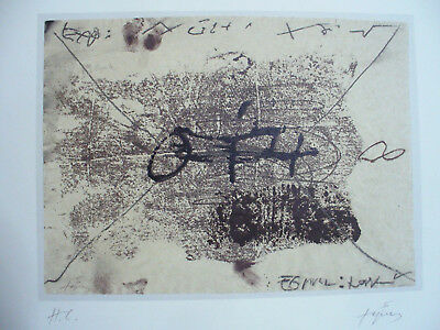 Tapies, Antoni - Lithograph - Composition - A Letter ? - Handsigned And Numbered