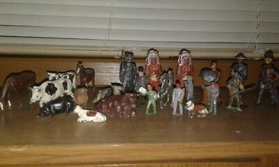 huge lot of vintage cast iron pot metal soldiers indians farm animals british